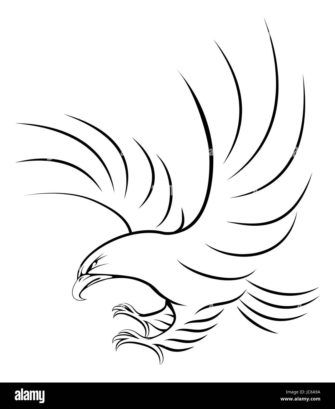 Stylised eagle illustration of an eagle swooping in for the kill - Stock Image