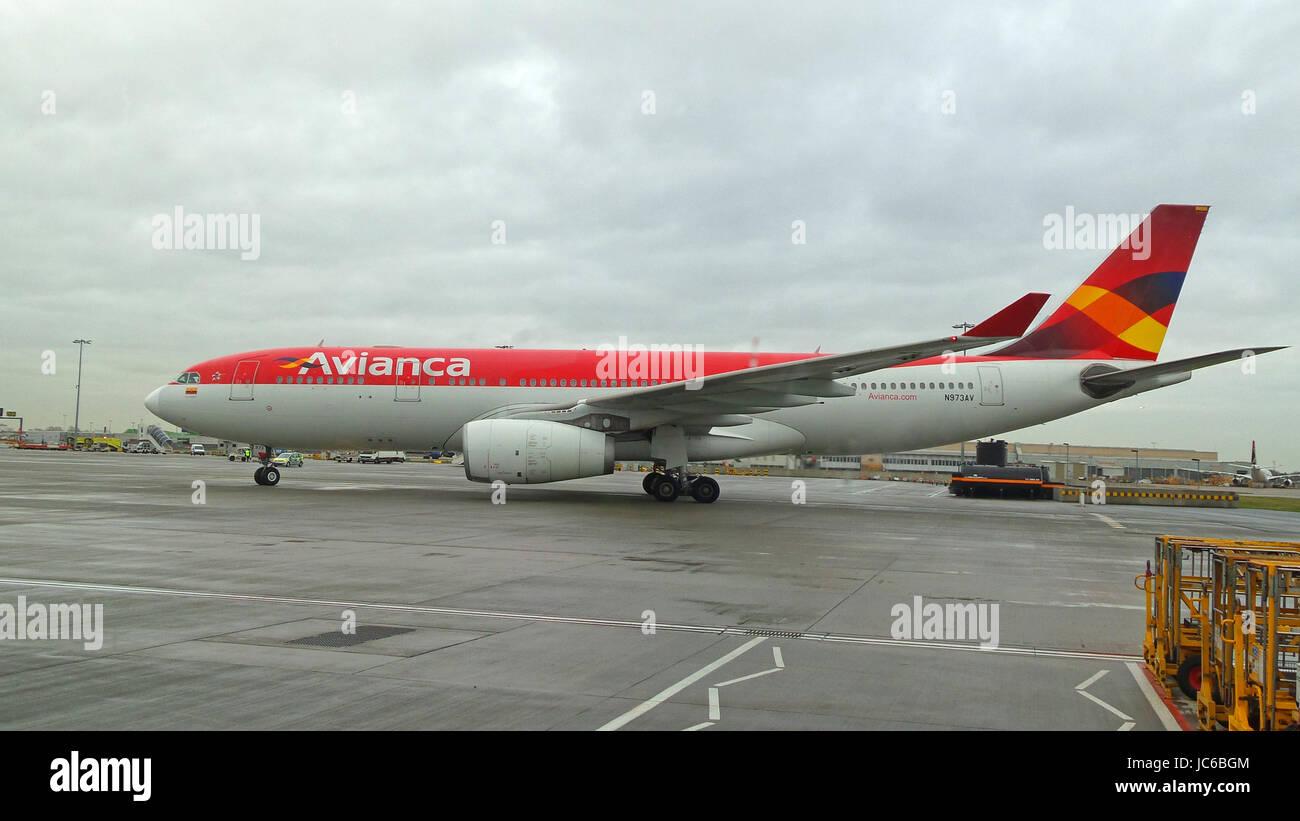 Avianca Airbus A330 N973AV arriving at Heathrow - Stock Image