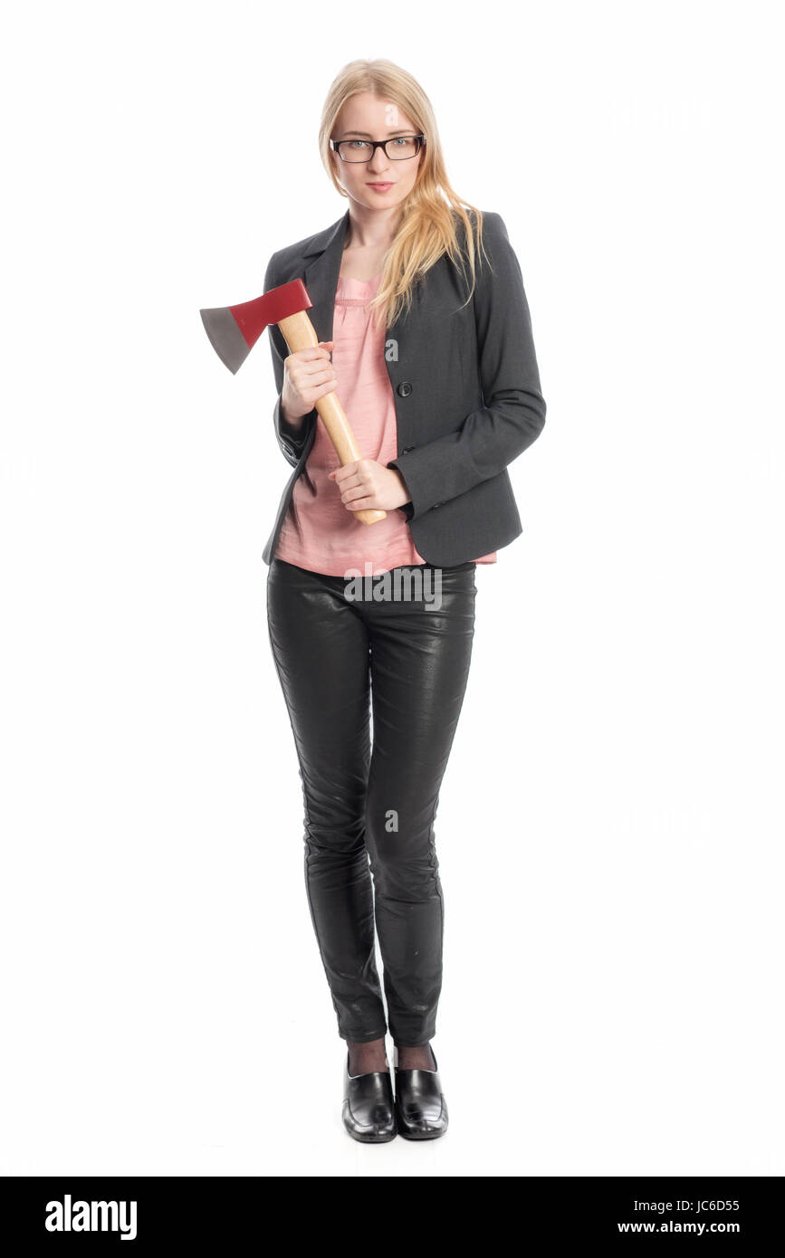 blonde woman with ax Stock Photo