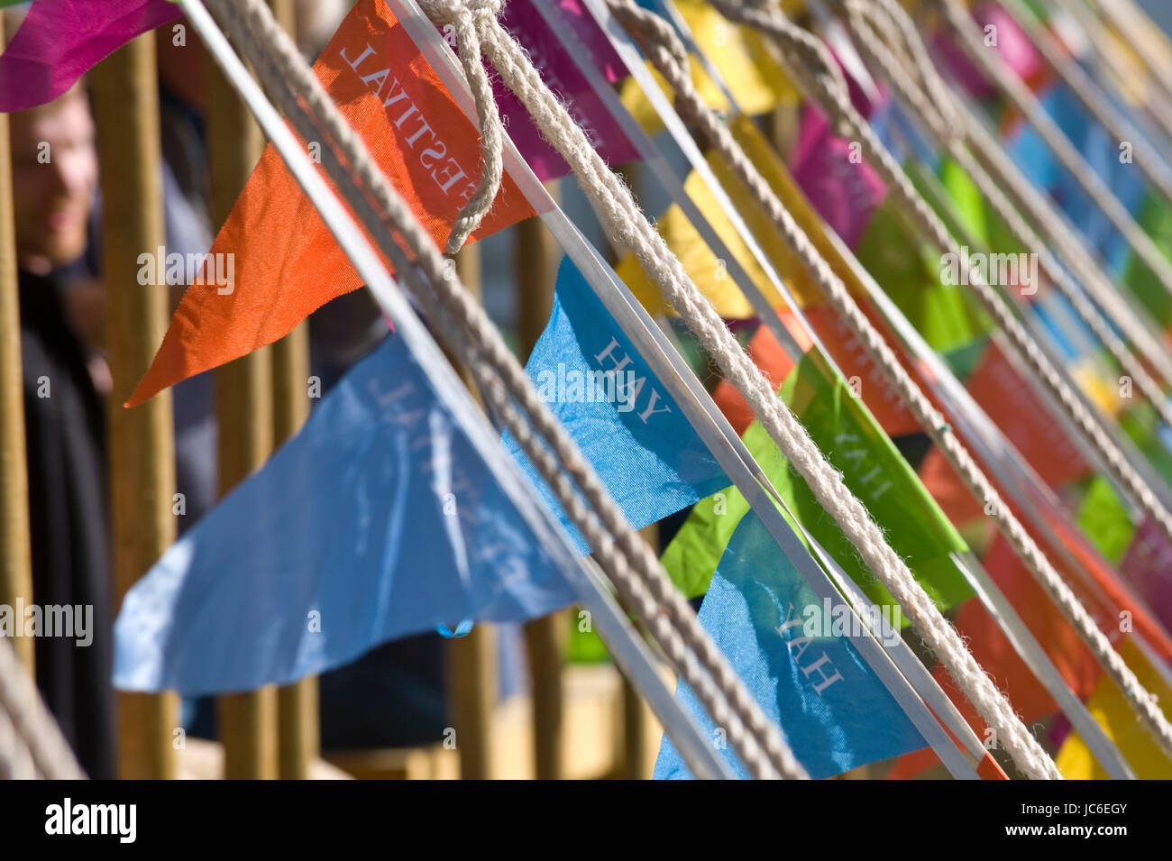 Bunting on Marquee at Hay Festival of Literature and the Arts 2017 Hay-on-Wye Powys Wales UK - Stock Image