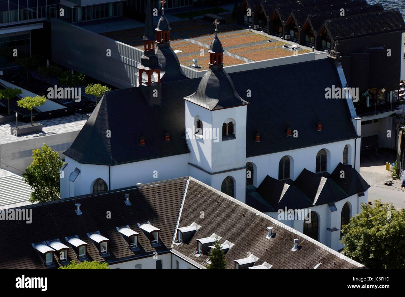 Blick vom Cologne Triangle auf die Kirche Alt Sankt Heribert , Köln, Nordrhein-Westfalen, Deutschland Stock Photo