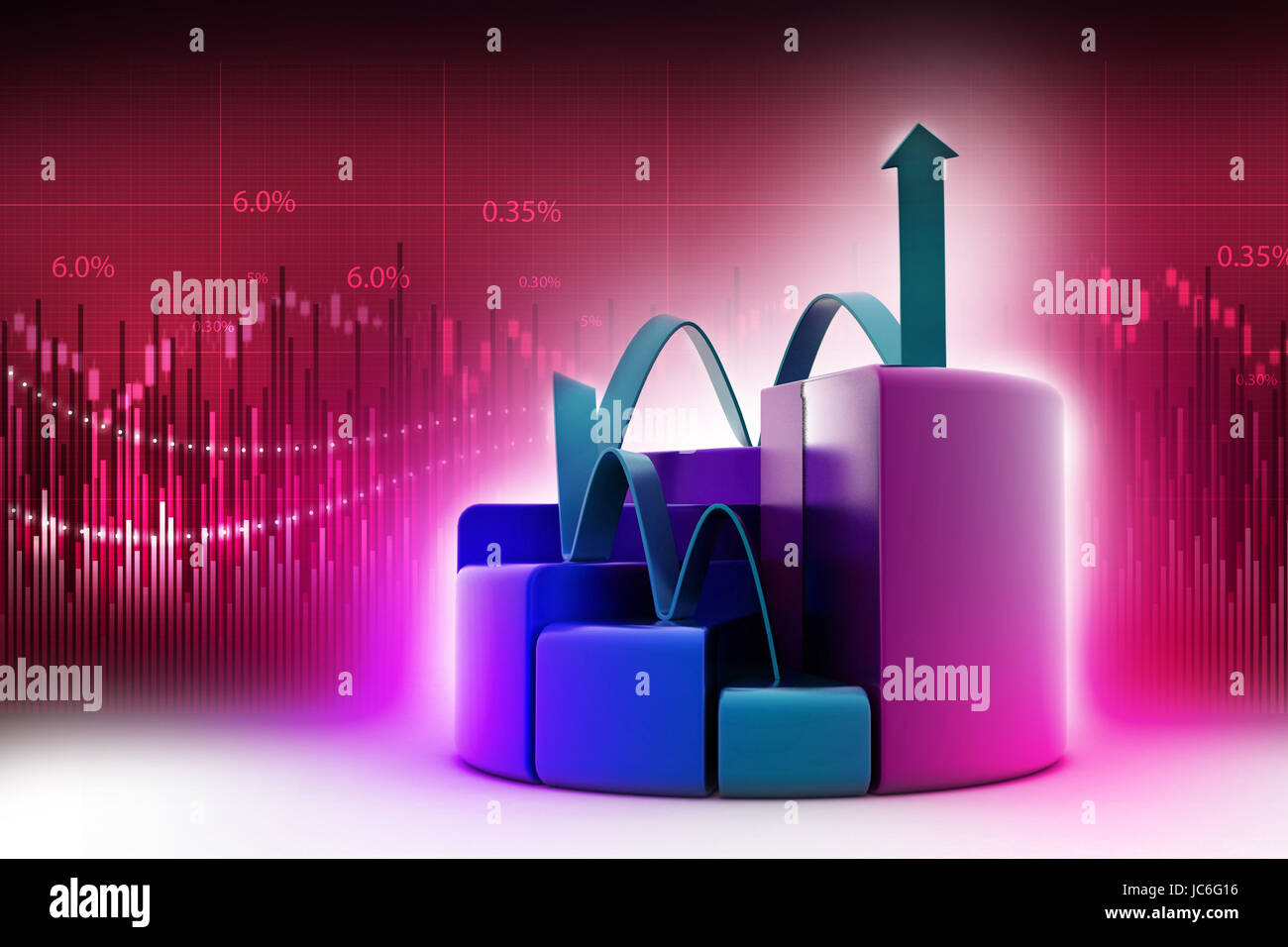 finance pie and bar chart graphs with growing arrow Stock Photo