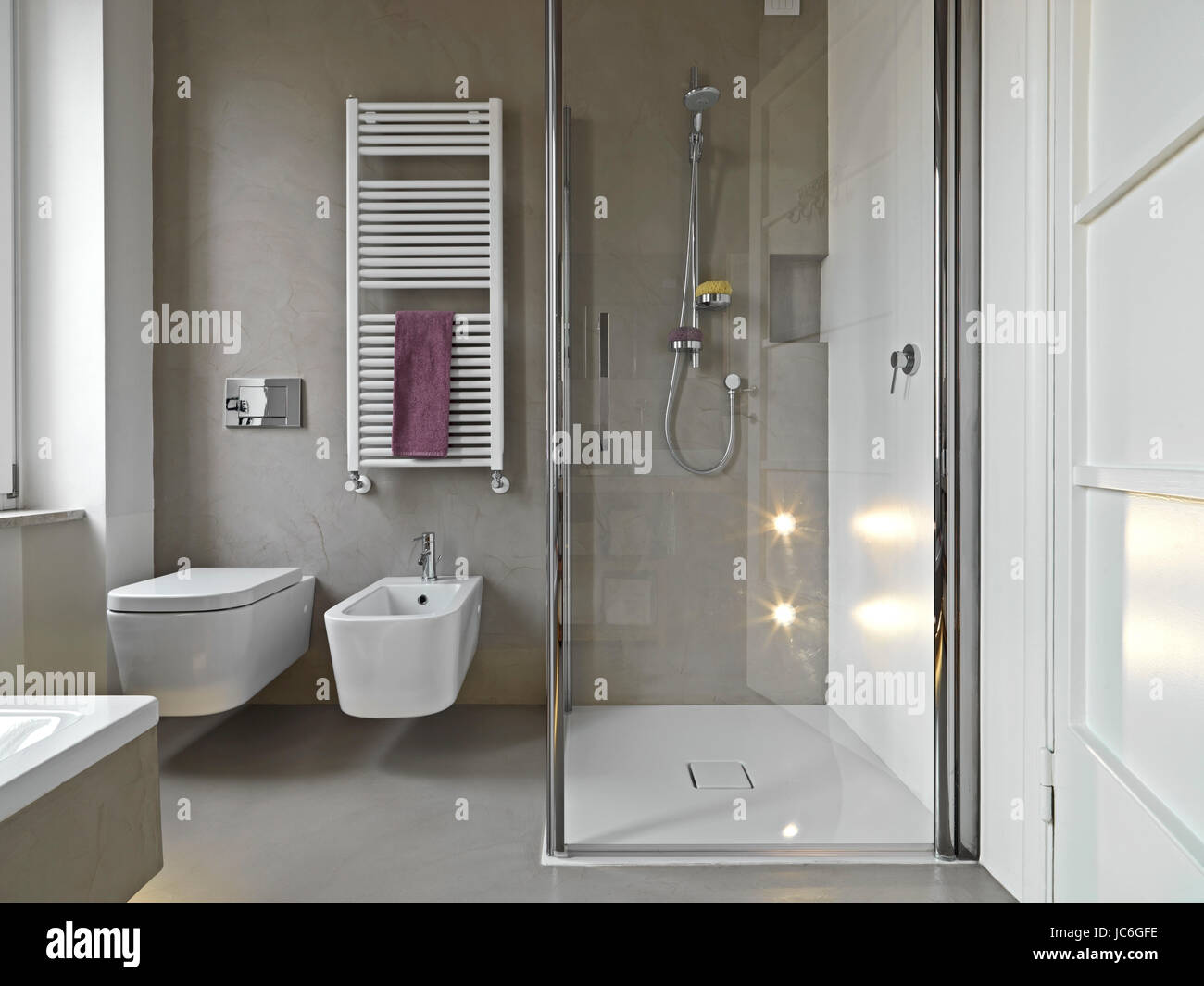 View Of Sanitary Ware And Shower Cubicle In A Modern Bathroom