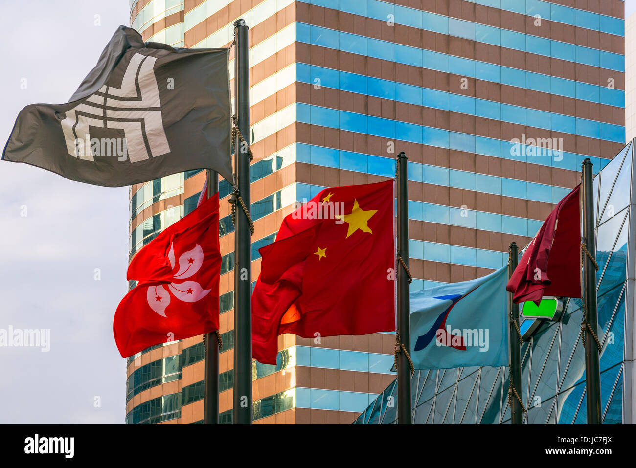 Flags, The Forum, Exchange Square, Hong Kong - Stock Image