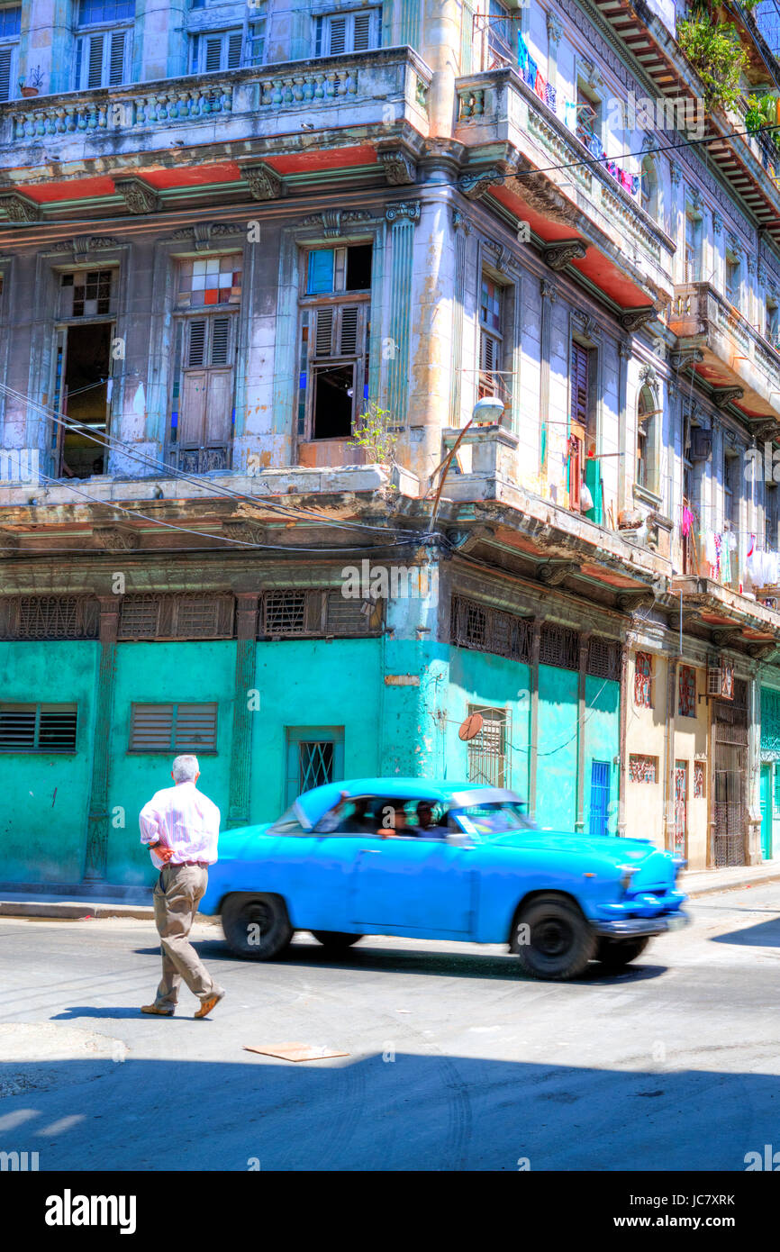 Classic american car on streets of Havana cuba, Cuban car havana street old havana Habana vieja, typical history - Stock Image