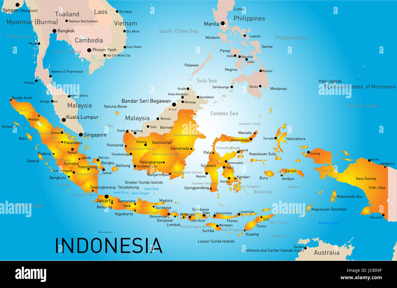 Indonesia country vector color map Stock Photo