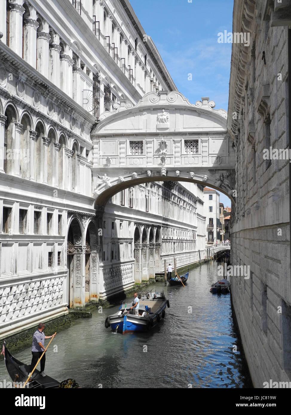 Seufzerbrücke, seufzer-brücke, brücke, Venedig, kanal, wasser, gewässer, italien,  norditalien, - Stock Image