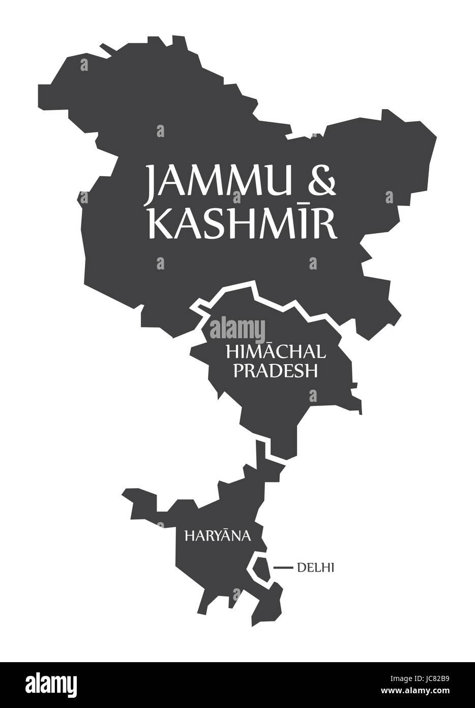 Jammu and Kashmir - Himachal Pradesh - Haryana - Delhi Map Illustration of Indian states - Stock Vector