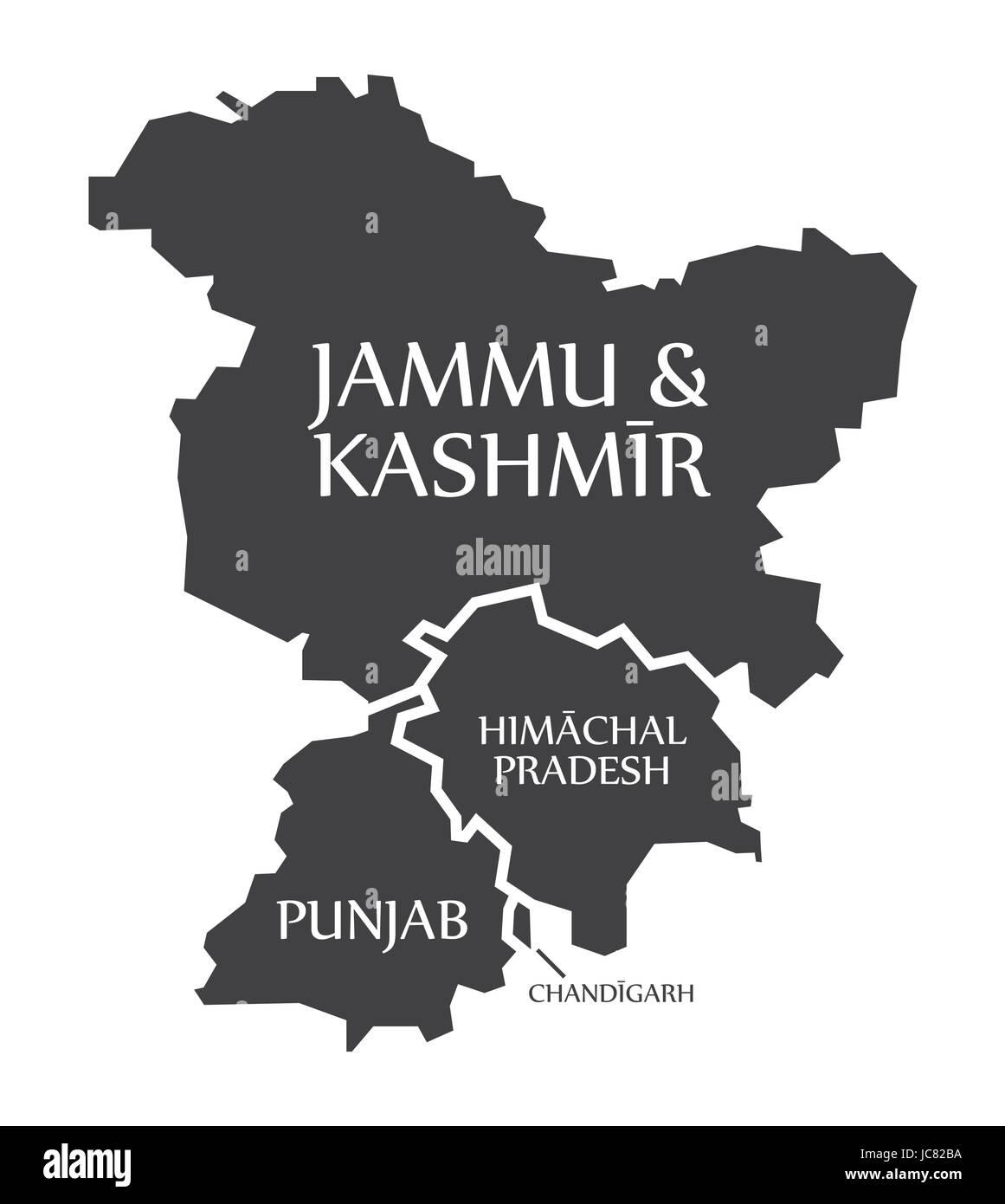 Jammu and Kashmir - Himachal Pradesh - Punjab - Chandigarh Map Illustration of Indian states - Stock Vector