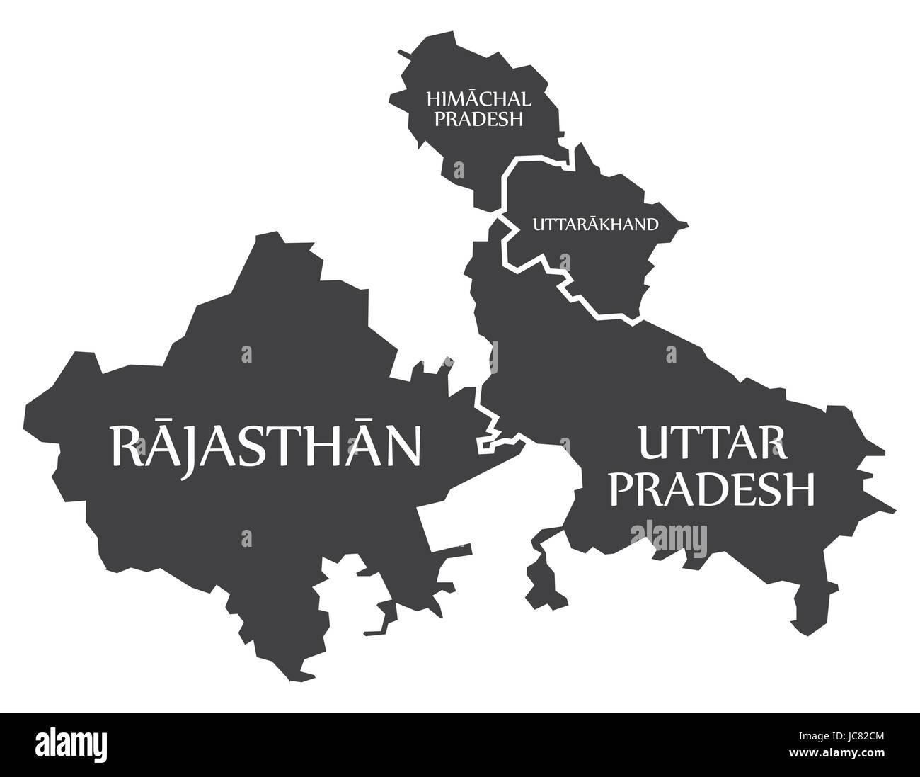 Rajasthan - Himachal Pradesh - Uttarakhand - Uttar Pradesh Map Illustration of Indian states - Stock Vector