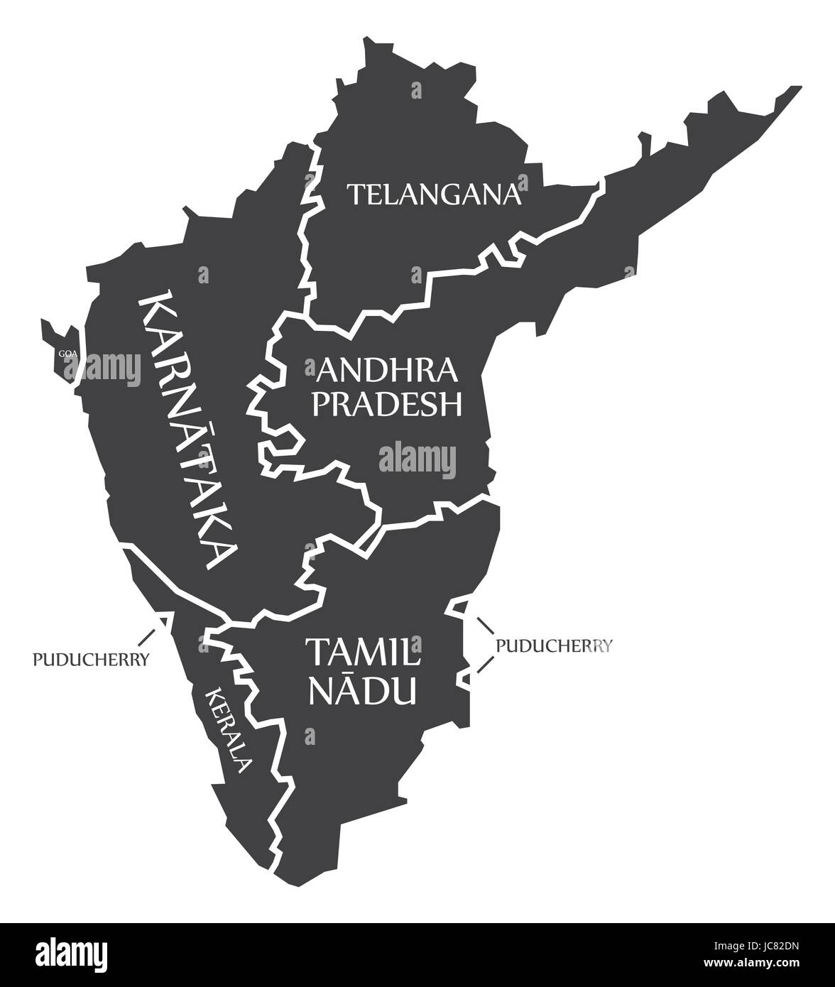Superb Southern States Of India Map Illustration