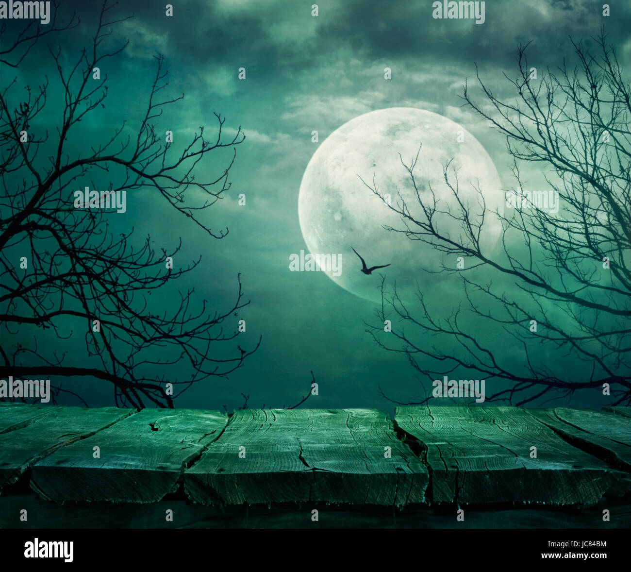 Halloween Background Spooky Forest With Full Moon And Wooden Table