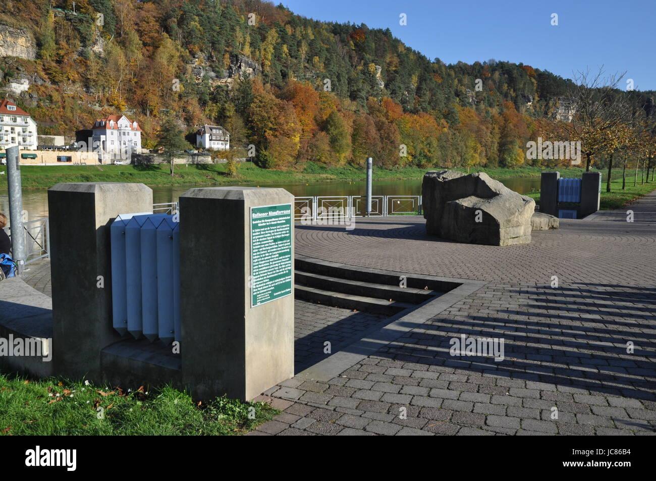 klangterrasse, Kurort Rathen, rathen, niederrathen, kleine bastei,  elbe, elbsandstein, elbsandsteingebirge, sächsische - Stock Image