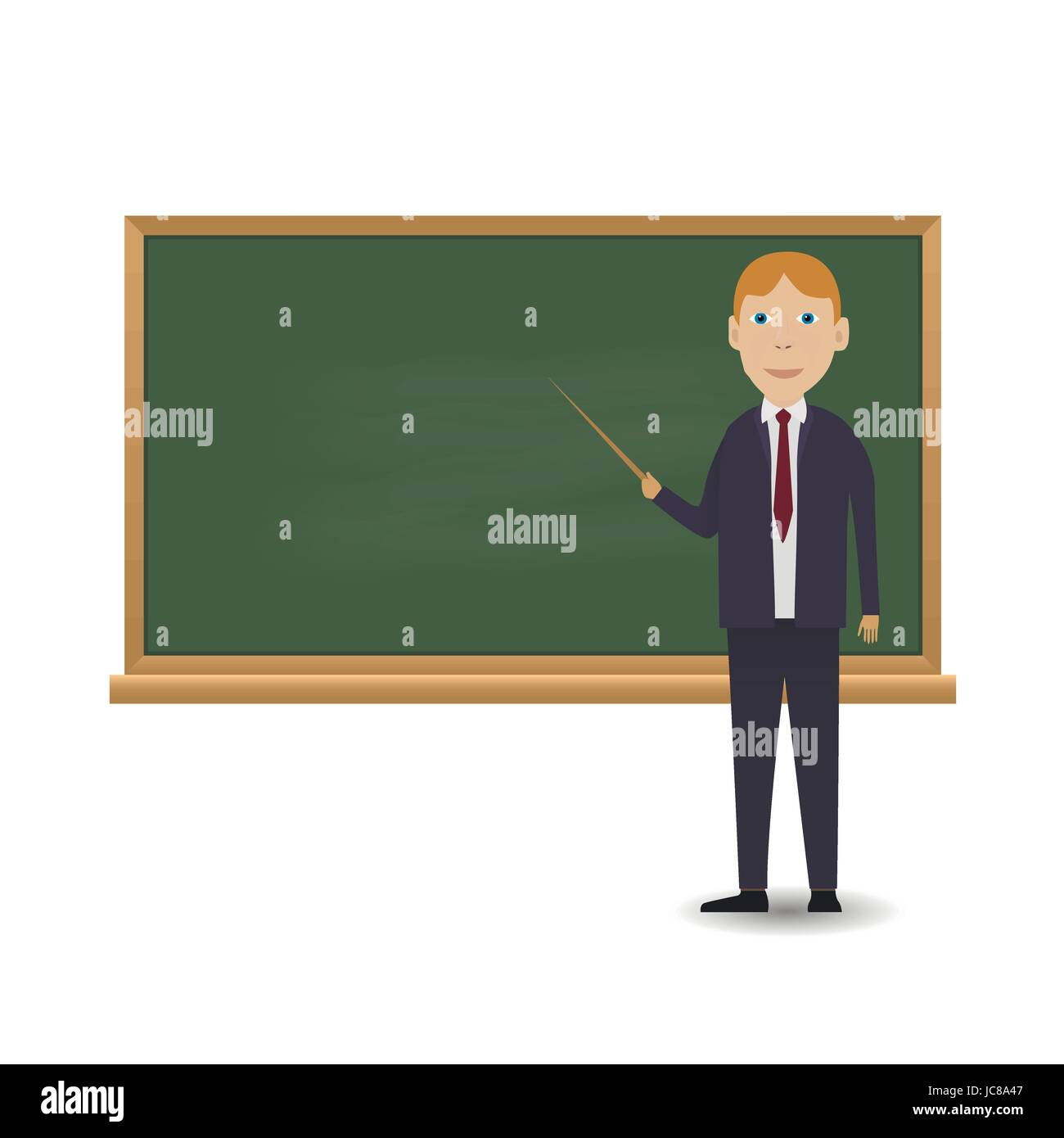 Young teacher standing in front of blackboard - Stock Vector