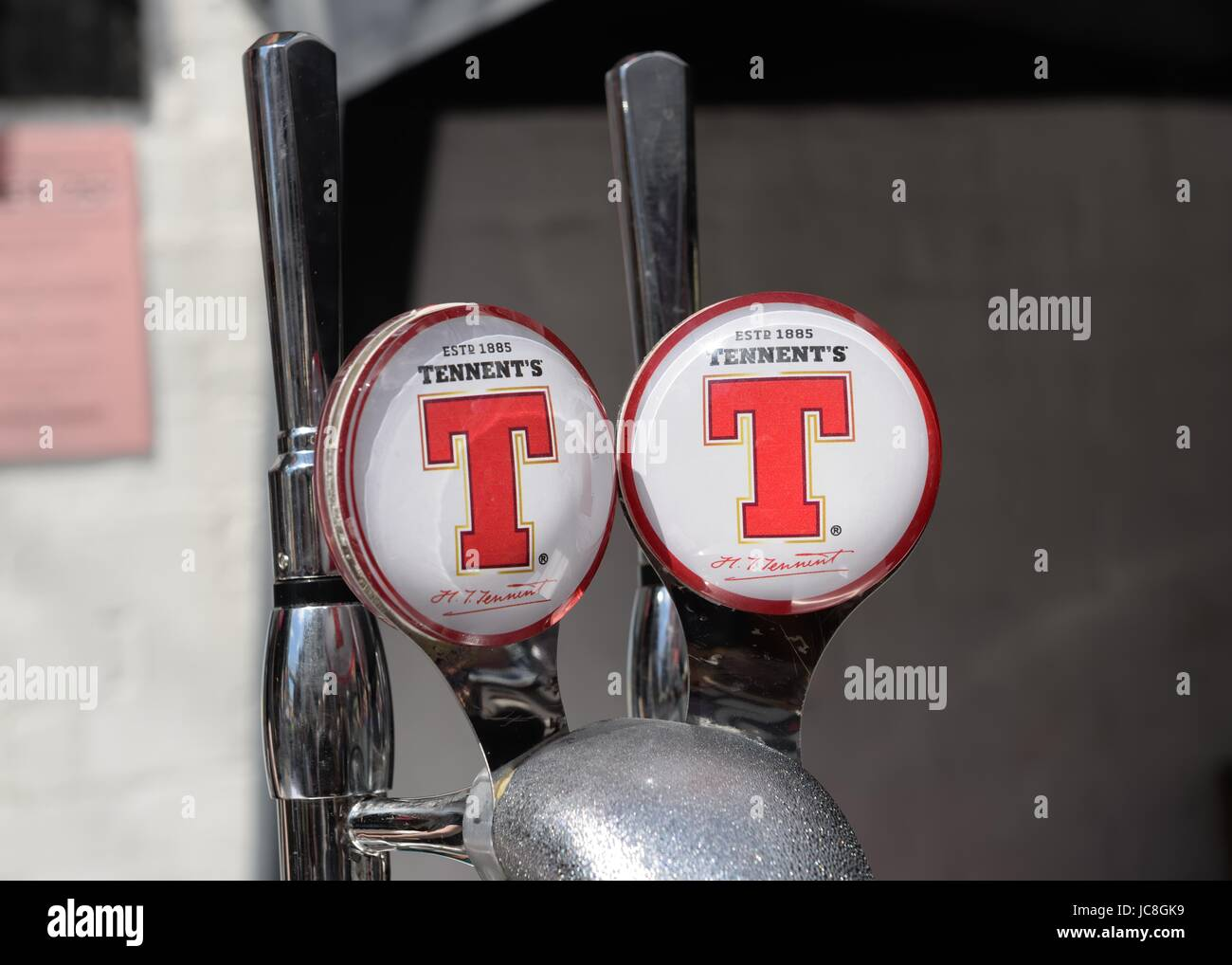 Tennent's lager dispensing taps in Scotland. - Stock Image