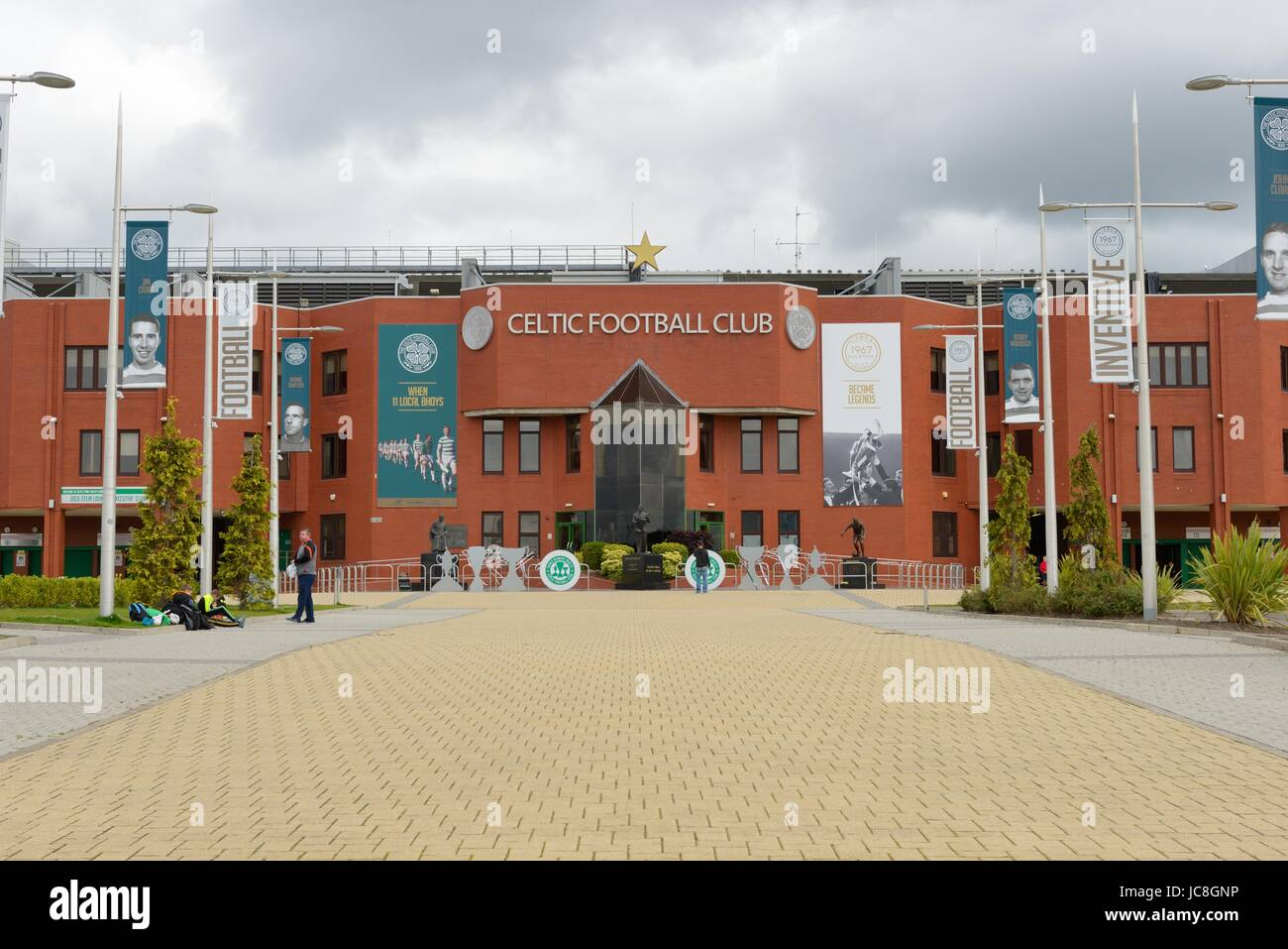 Looking up 'The Celtic Way' at the front of Celtic Park football stadium in Glasgow, Scotland, UK - Stock Image