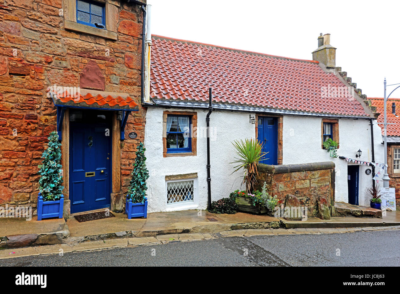 Row of cottages.Crail. Fife. Scotland - Stock Image