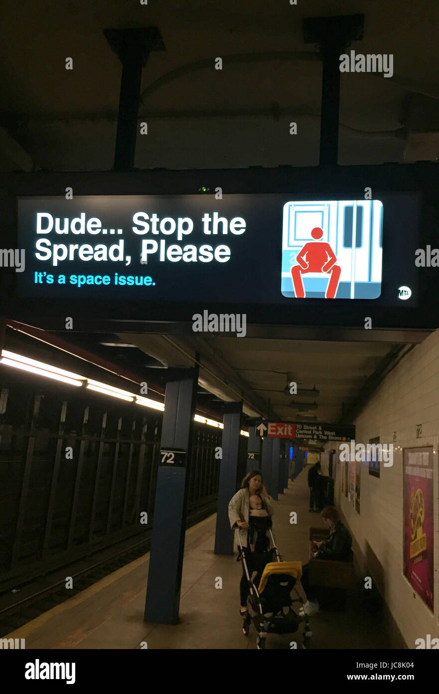 Newy York, USA. 12th May, 2017. A sign at a metro station in Manhattan advises male passangers on their excessive - Stock Image