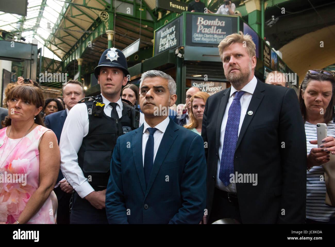 London, UK. 14th June, 2017. London Mayor Sadiq Khan at Borough Market as it re-opens to the public following the - Stock Image