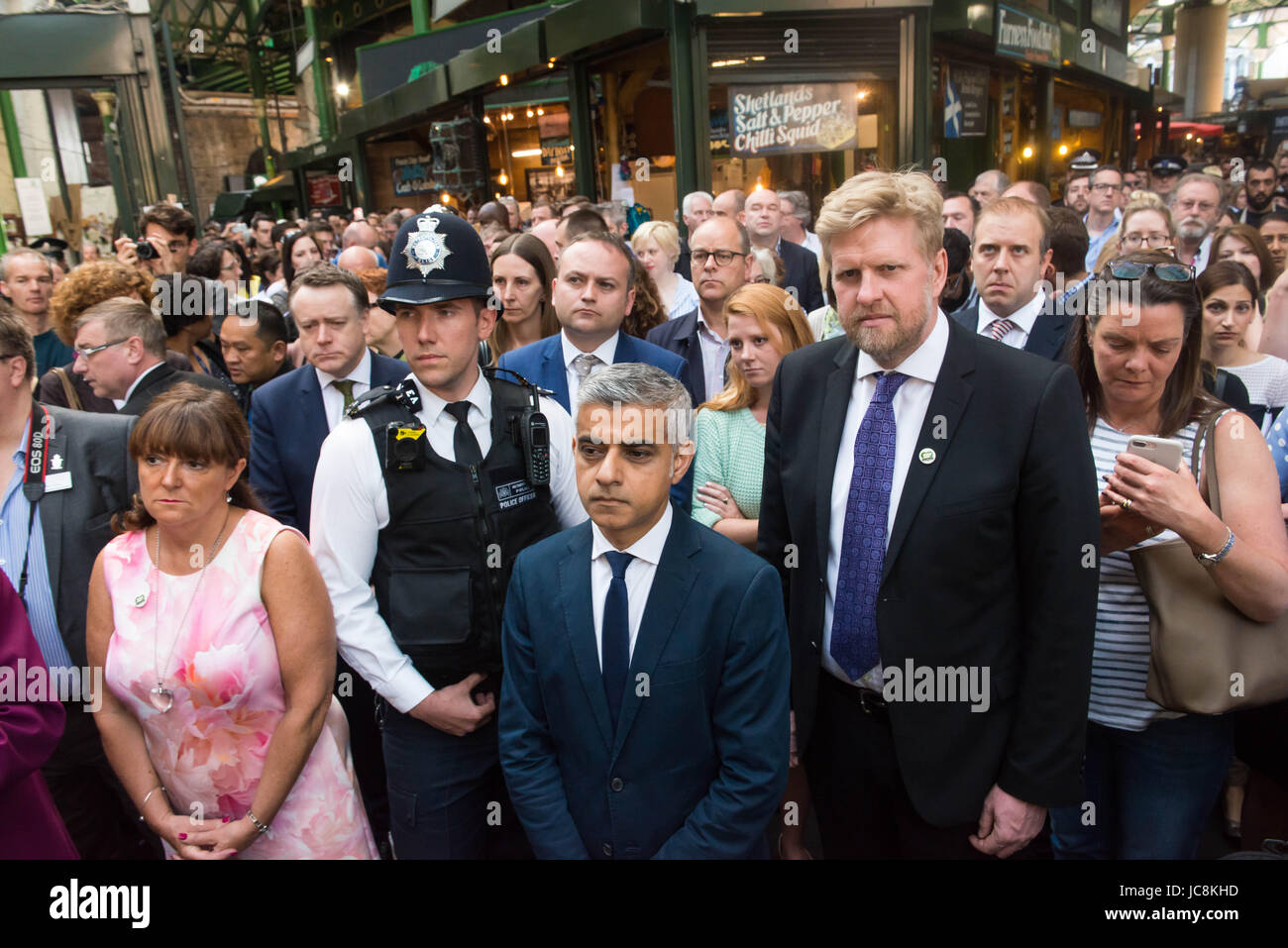 London, UK. 14th June, 2017. London Mayor Sadiq Khan at Borough Market as it re-opens to the public following the - Stock Image