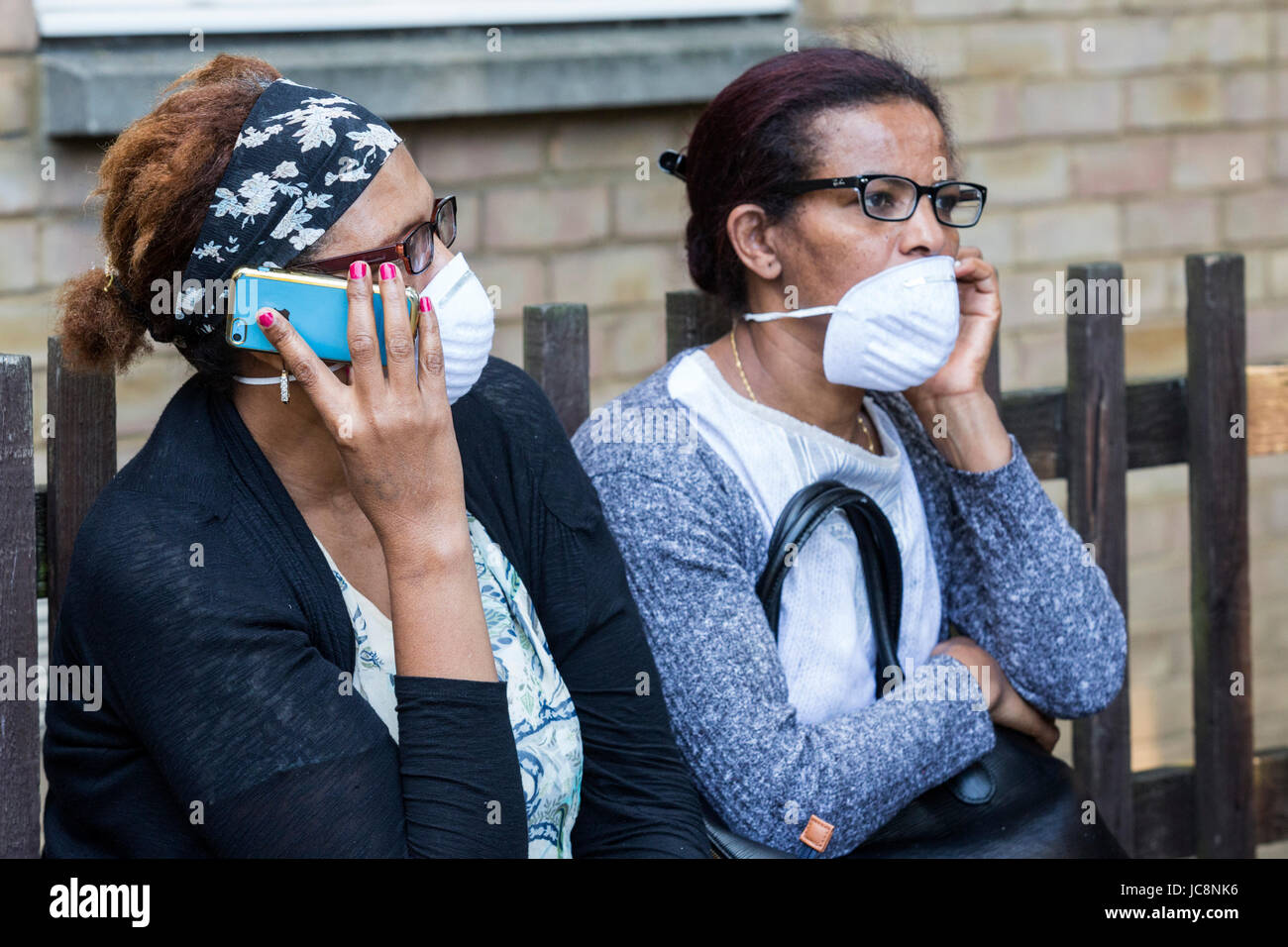 London, UK. 14 June 2017. After the fire in the 27-storey, 120 flat, Grenfell Tower in North Kensington, Notting - Stock Image