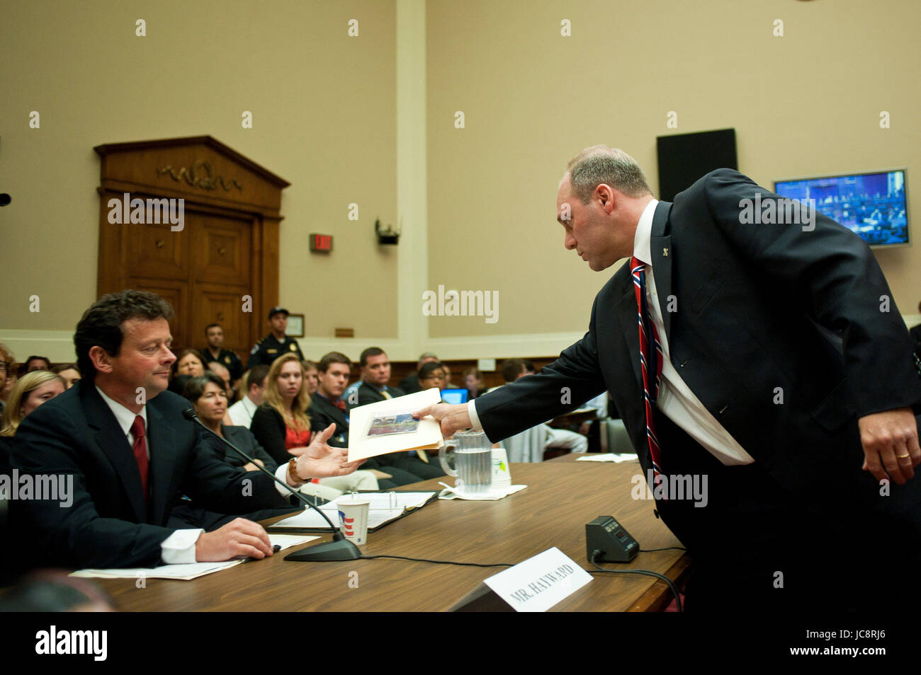 June 17, 2010 - Washington, District of Columbia, U.S., - Rep. STEVE SCALISE gives matierals to Tony Hayward, CEO, - Stock Image