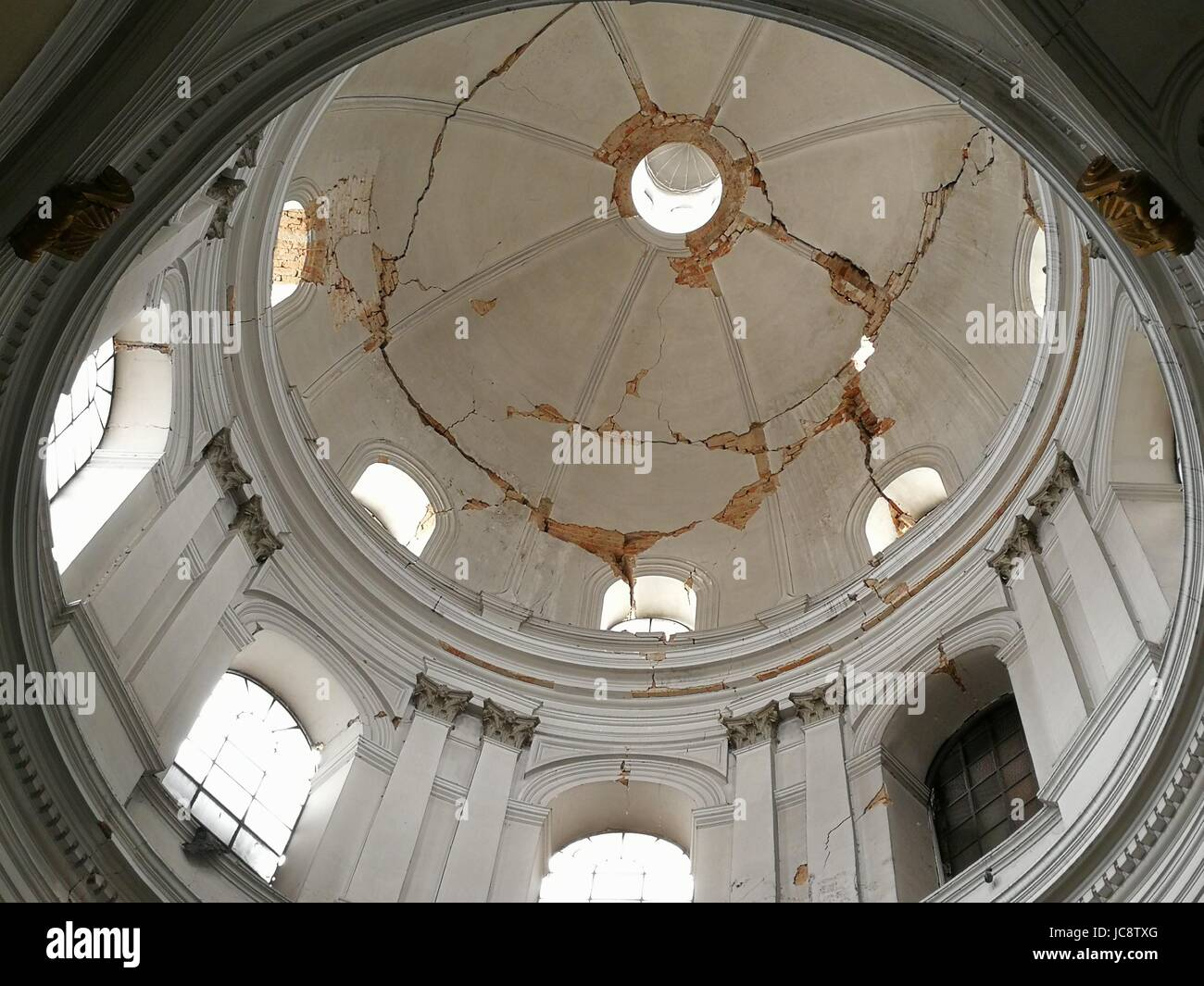 Quezaltenango, Guatemala. 14th June, 2017. The by an earthquake damaged domed roof of the Dome is pictured in Quezaltenango, - Stock Image