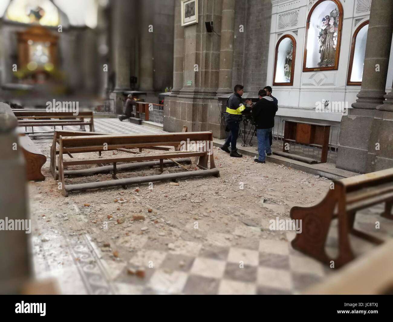 Quezaltenango, Guatemala. 14th June, 2017. Ruins lie on the floor of the by an earthquake damaged Dome in Quezaltenango, - Stock Image