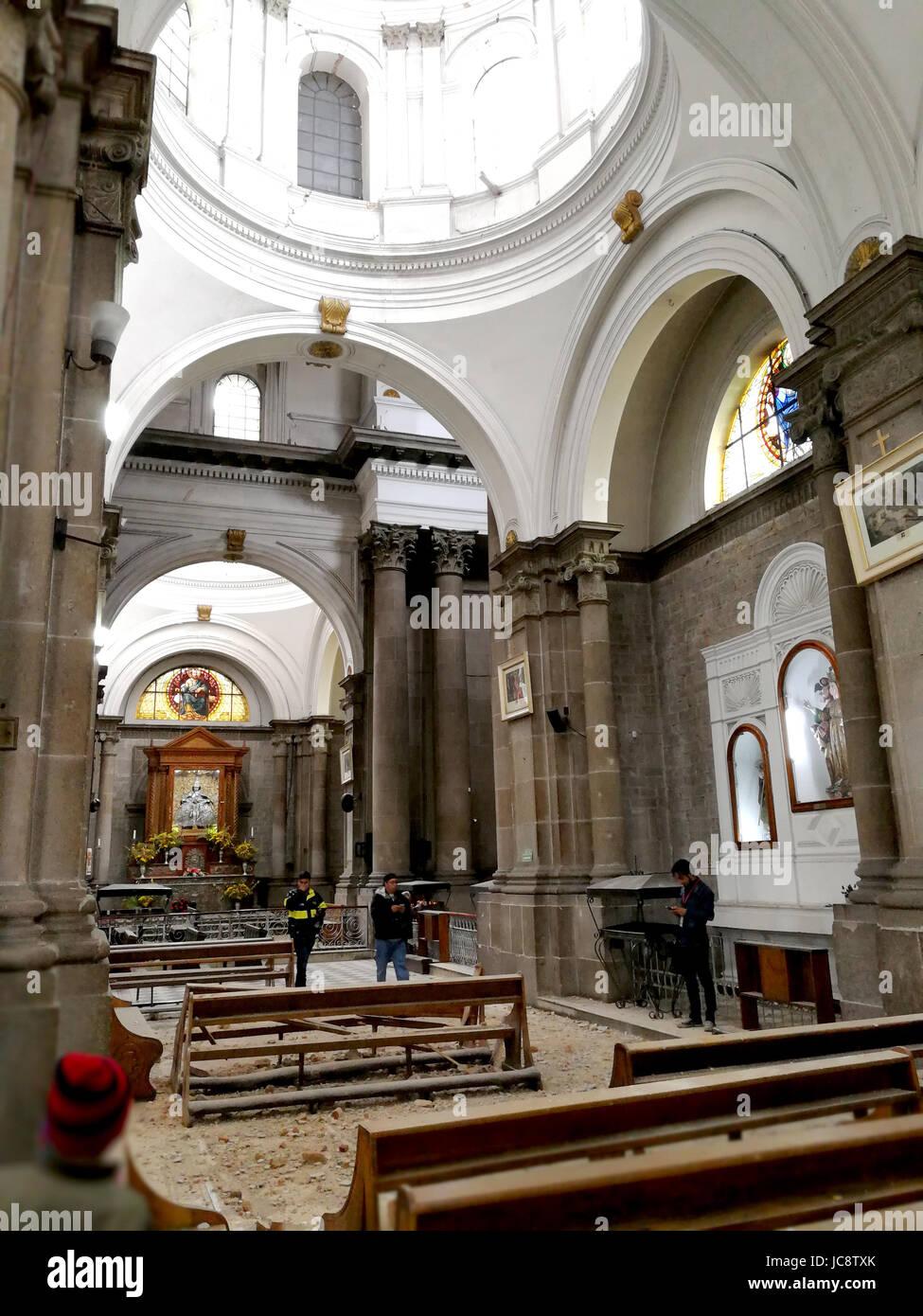 Quezaltenango, Guatemala. 14th June, 2017. The by an earthquake damaged Dome is pictured in Quezaltenango, Guatemala, - Stock Image