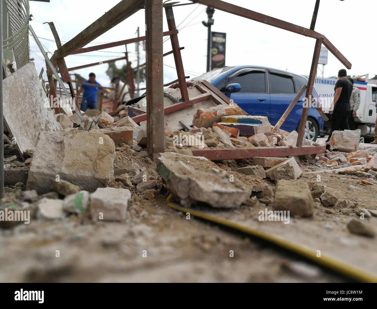 Quezaltenango, Guatemala. 14th June, 2017. Ruins are pictured after an earthquake in Quezaltenango, Guatemala, 14 - Stock Image