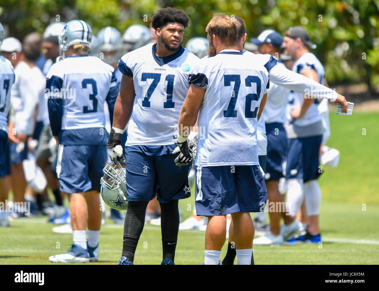 June 14, 2017: Dallas Cowboys offensive guard La'el Collins #71 during an NFL mini-camp organized team activities Stock Photo