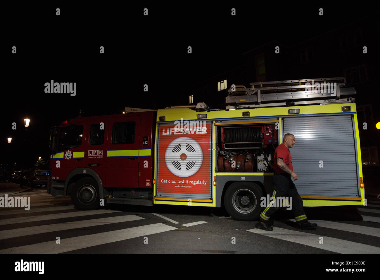 London, UK. 15th June, 2017. Fire appliances being prepared at around 2.30am. Credit: Mark Kerrison/Alamy Live News - Stock Image