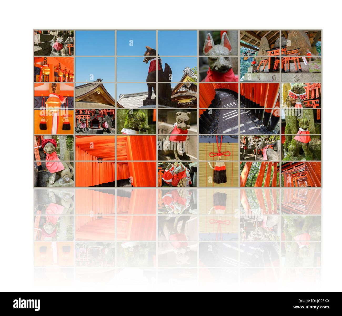 Collection of Fushimi Inari Taisha Shrine scenics in TV wall, fox statue, thousands of torii, paper cranes of thousand - Stock Image