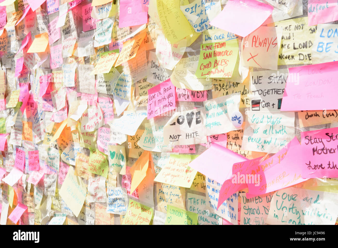 London Bridge Peace Wall,Hundreds of messages of peace were written on post it notes in the days following the London - Stock Image