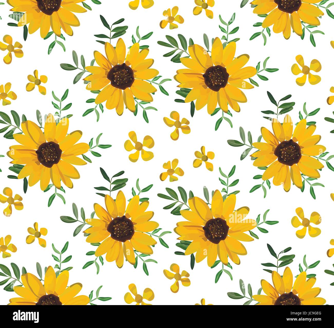 Vintage Yellow Sunflower tiny beautiful soft flowers, leaves background, seamless wallpaper botanical floral design watercolor illustration for textil