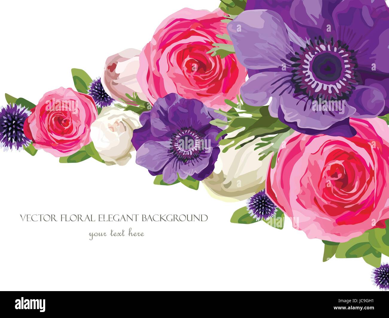 Flower bright Flowers pink Rose Anemone Thistle leaves, beautiful lovely spring Summer bouquet vector illustration.Top - Stock Vector