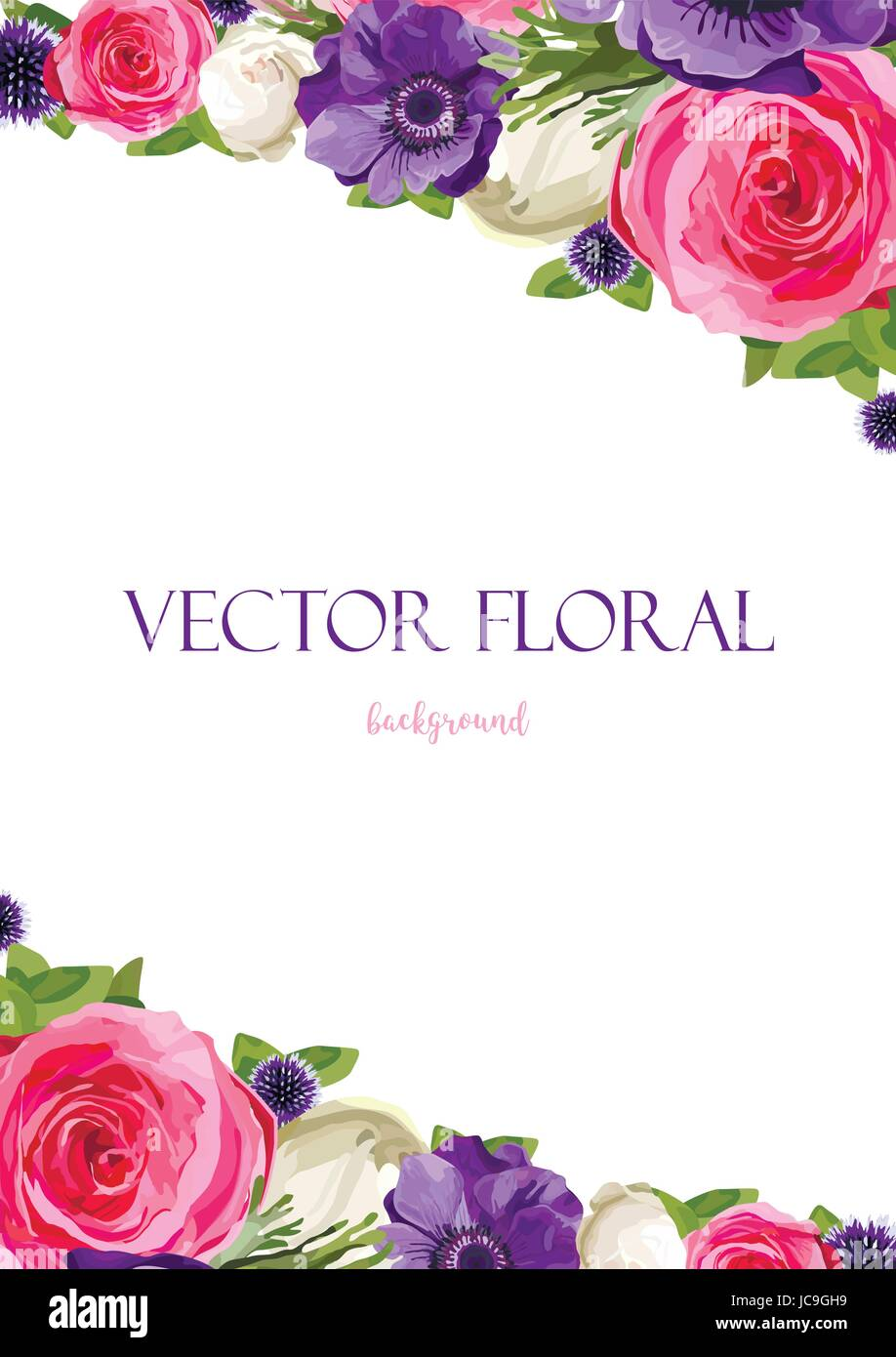 Flower Bright Flowers pink Rose Anemone Thistle leaves beautiful lovely Spring Summer bouquet vector illustration.Top - Stock Image