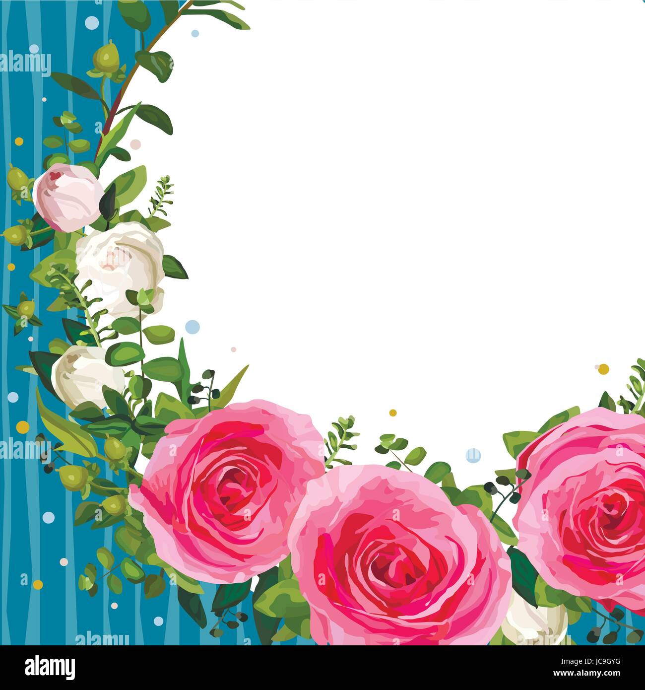 Flower pink rose leaves beautiful lovely spring summer bouquet flower pink rose leaves beautiful lovely spring summer bouquet vector illustration top view square fine elegant watercolor design white background sa izmirmasajfo