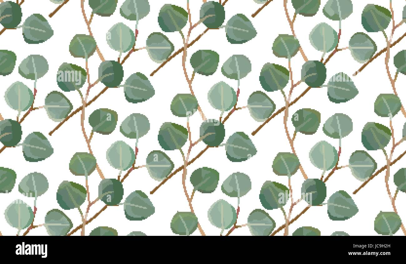 Eucalyptus tree foliage natural branches with leaves tropical seamless pattern in watercolor style. Vector decorative - Stock Vector