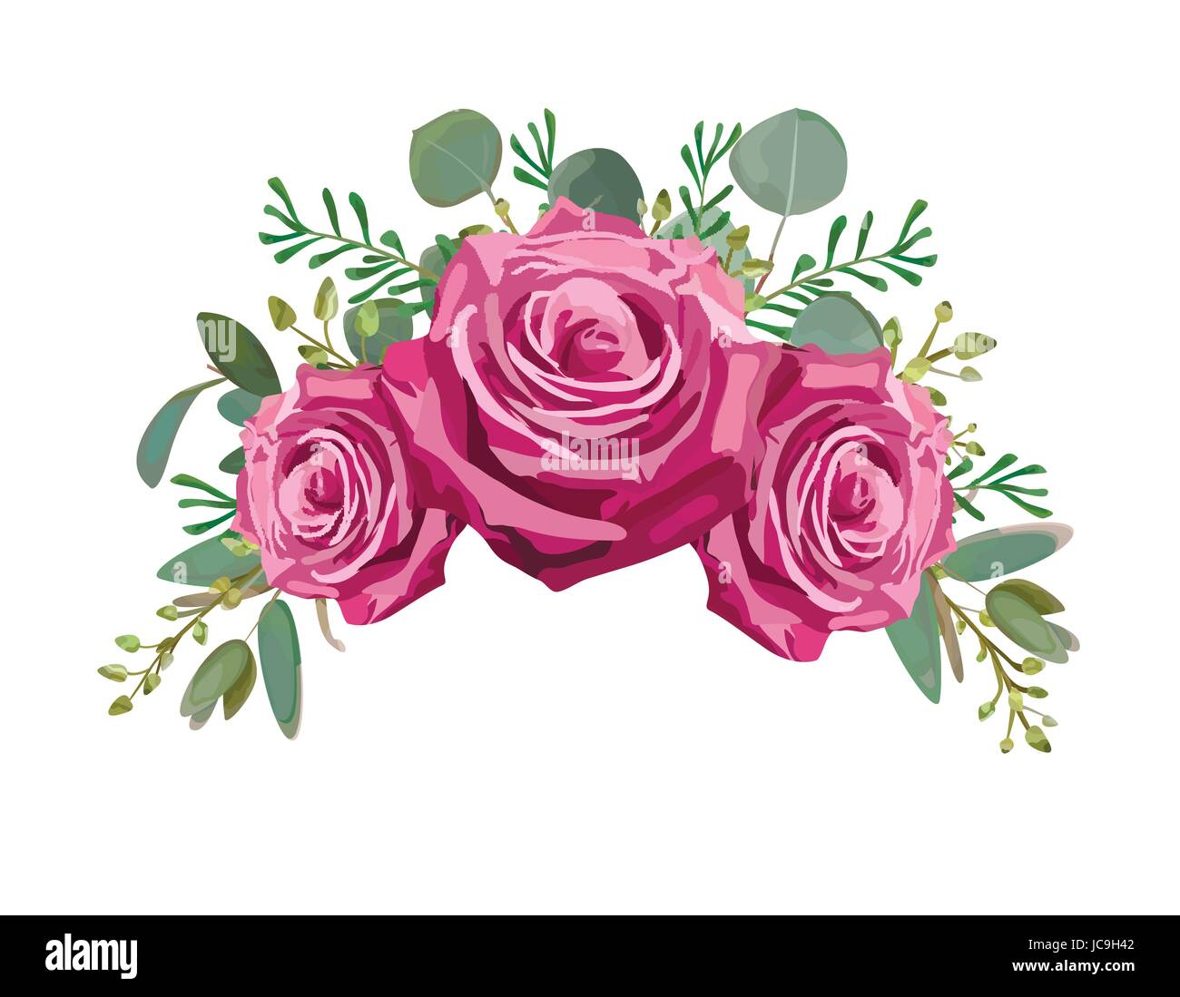 Vintage Flowers Part - 21: Vintage Flowers Of Moody Blue Lavender Purple Pink Rose And Eucalyptus  Leaves, Thyme Branches Herbal Bouquet Drawn In Watercolor Style Vector  Beautifu