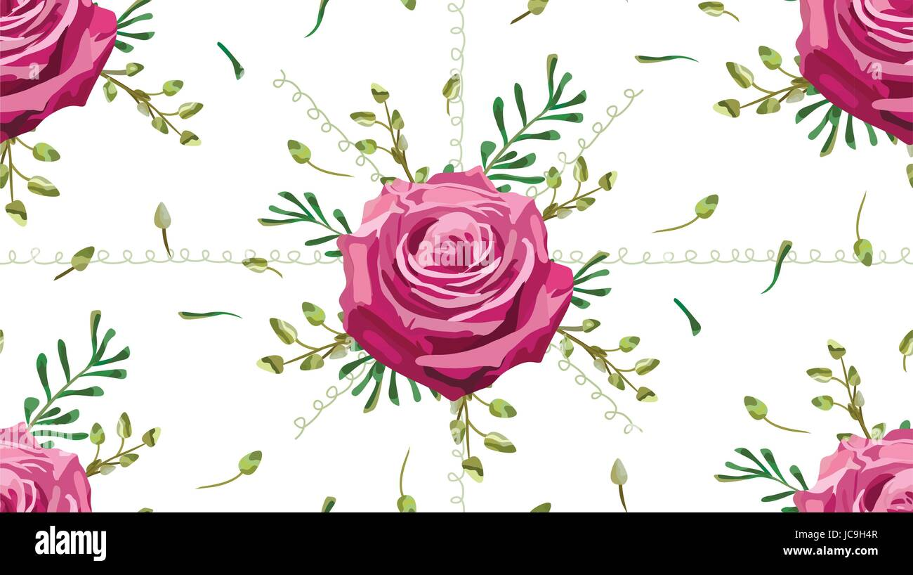 Vintage moody blue lavender rose roses flowers and eucalyptus brunch, thyme, decorative plants, herbs leaves bouquet - Stock Vector