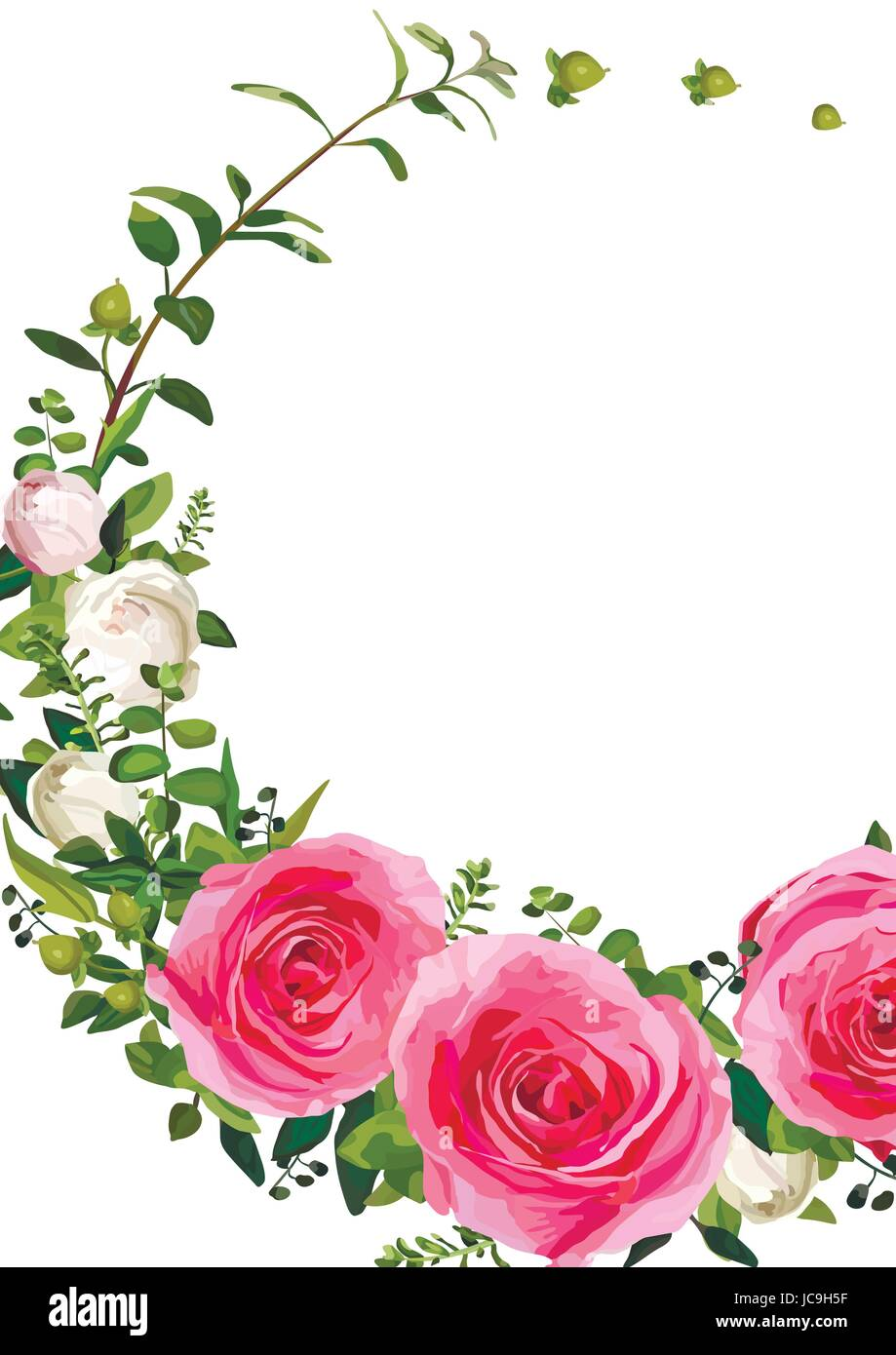 Flower Wreath Flowers Pink Rose Leaves Beautiful Lovely Spring