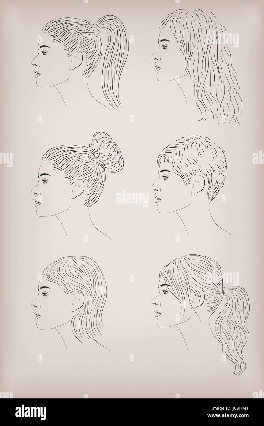 Woman Female Person Hair Hairstyle Hairdo Coiffure Headdress Set Stock Vector Image Art Alamy