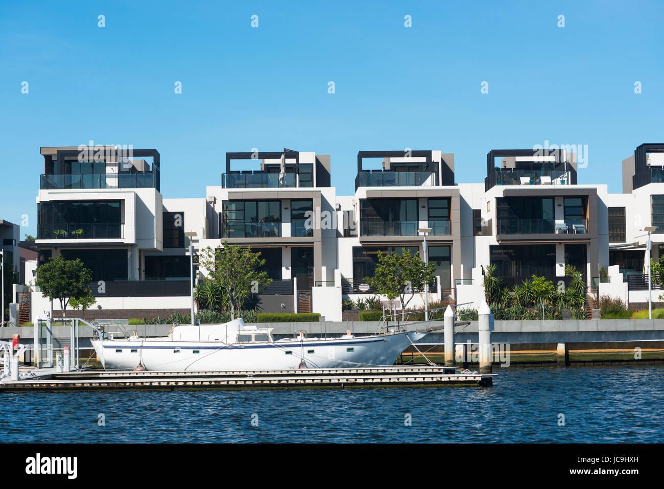 Modern house on river Yarra, Melbourne, Victoria, Australia Stock