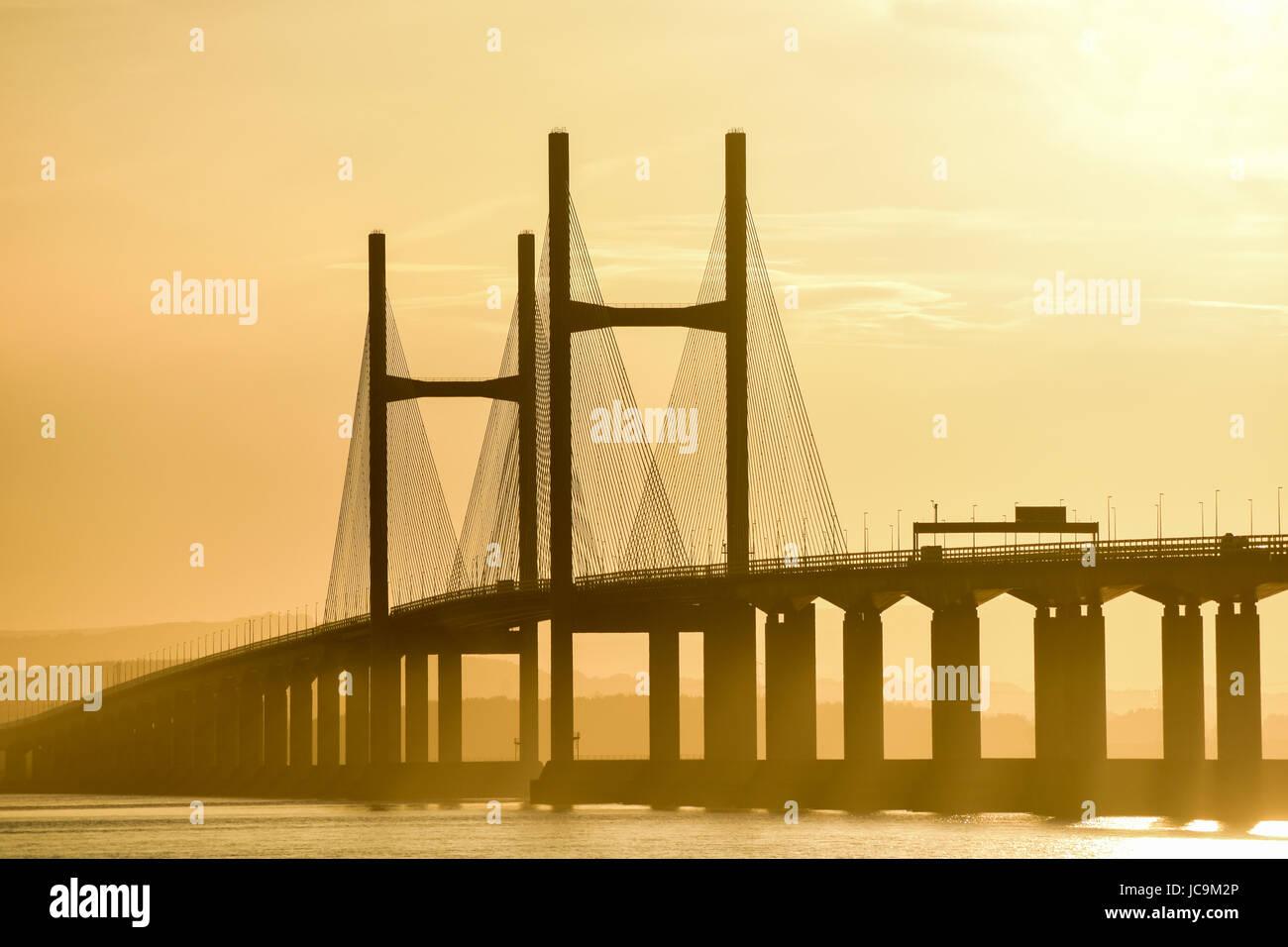 The Second Severn Bridge Crossing / M4 Motorway - in soft early evening sunlight, Nr Bristol, UK. - Stock Image