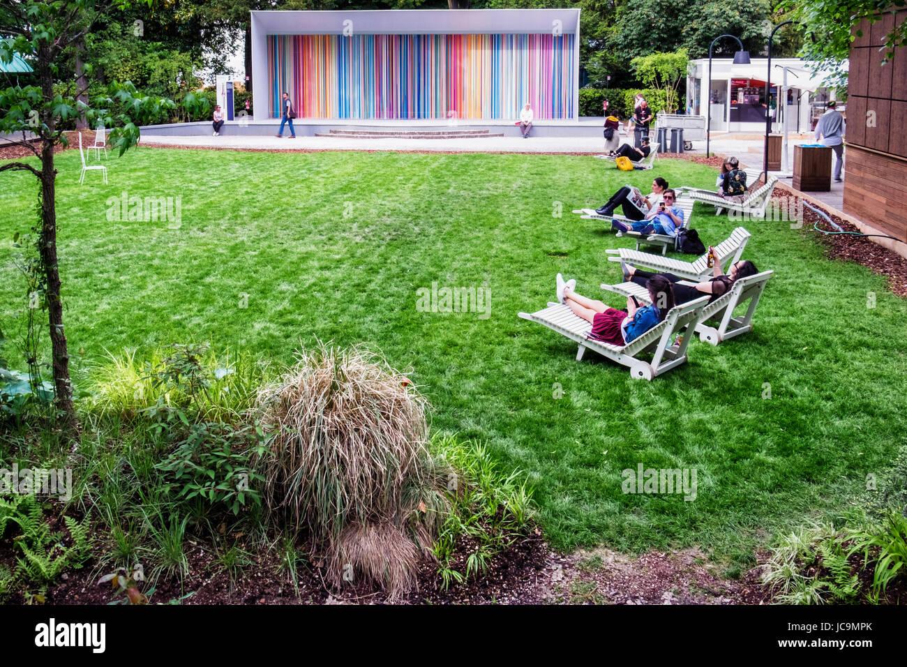 Venice,Castello,Giardini.57th Venice Biennale 2017,La Biennale di Venezia,Giardini Colourfall by Ian Davenport at - Stock Image