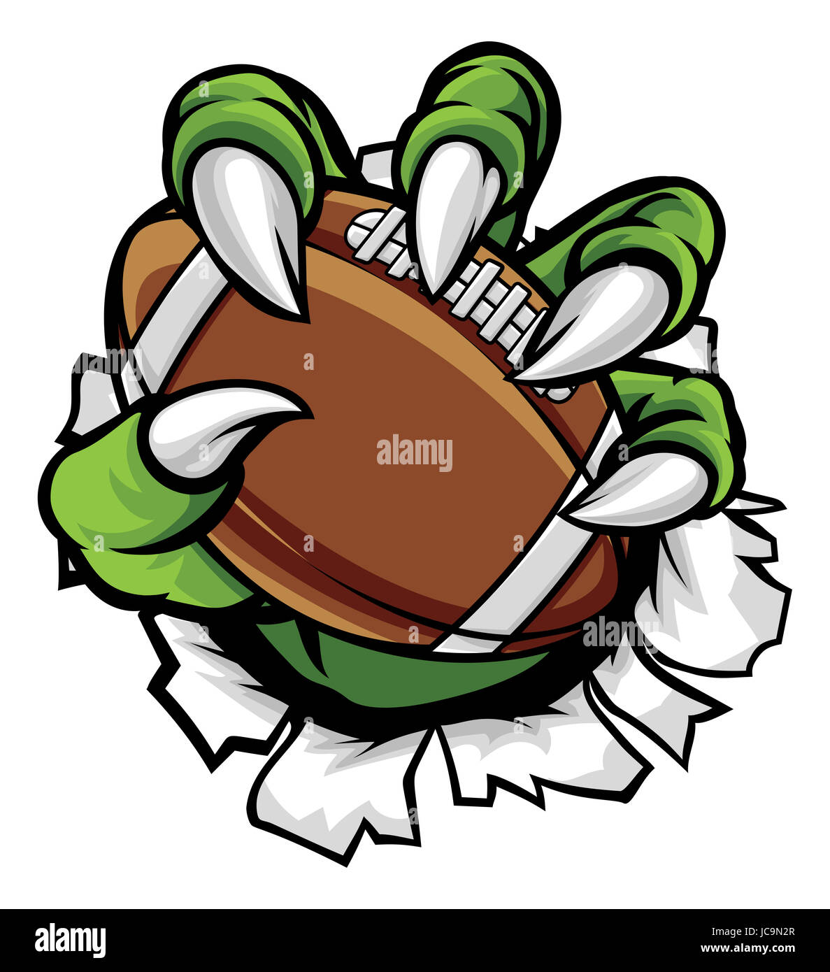 a monster or animal claw holding an american football ball and stock