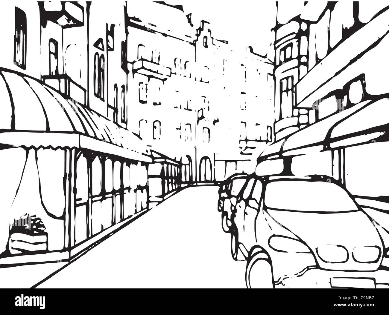 street scene stock vector images alamy Historic Manor House city street building house realistic contrast black and white line car historical lviv urban life landscape