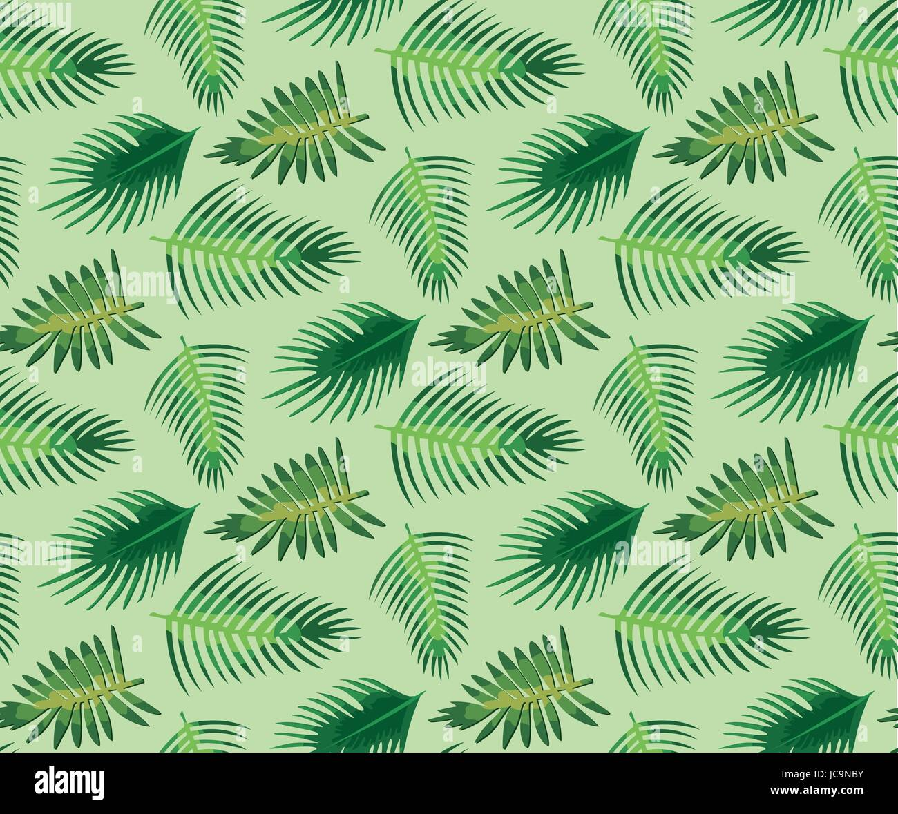 Palm tree different set leaf leaves seamless pattern