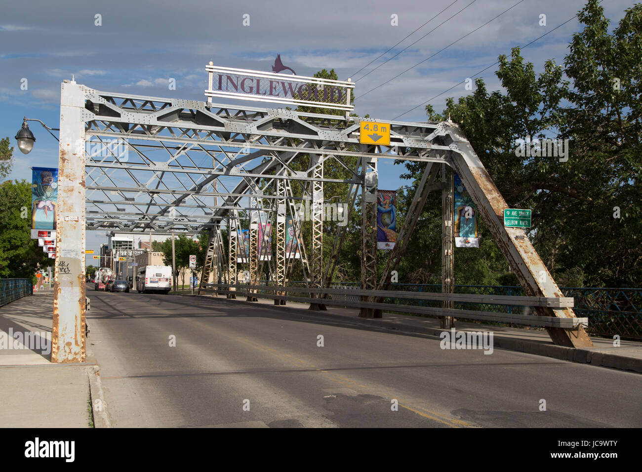 Bridge leading to the Inglewood district of Calgary, Canada. Inglewood is one of the oldest districts in Calgary - Stock Image